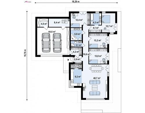 Проект Z402 Стильный одноэтажный дом с панорамным остеклением в гостиной  Проекты домов и гаражей