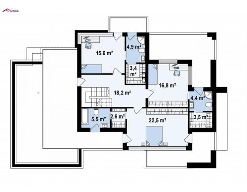 Проект Z404 Двухэтажный дом с гаражом на два автомобиля и двумя спальнями на первом этаже  Проекты домов и гаражей