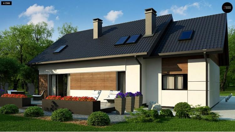 Проект Z405 Красивый дом в традиционном стиле архитектуры, с комнатой на пером этаже и гаражом.  Проекты домов и гаражей