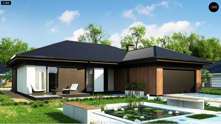Проект Z406 Одноэтажный дом с большой площадью остекления в гостиной  Проекты домов и гаражей