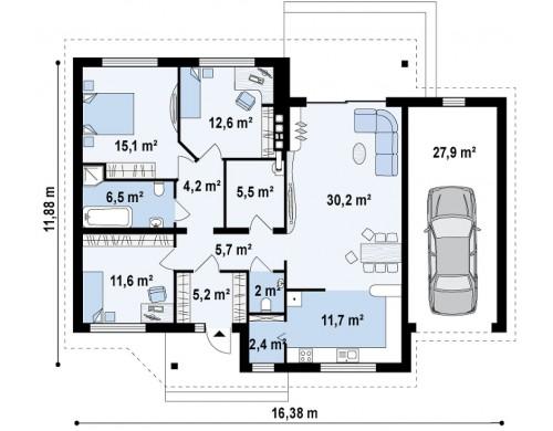 Проект Z41 GP Версия проекта Z41 с гаражом для одного авто справа.  Проекты домов и гаражей