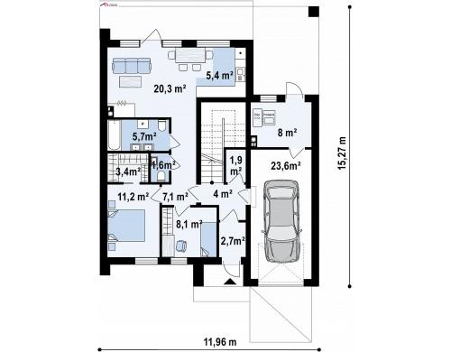 Проект Z424 Современный дом с двускатной крышей и гаражом для одного пользователя  Проекты домов и гаражей