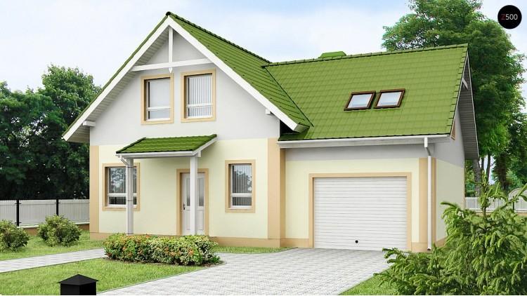 Проект уютного и функционального дом «Т»-образной формы с гаражом - Z43