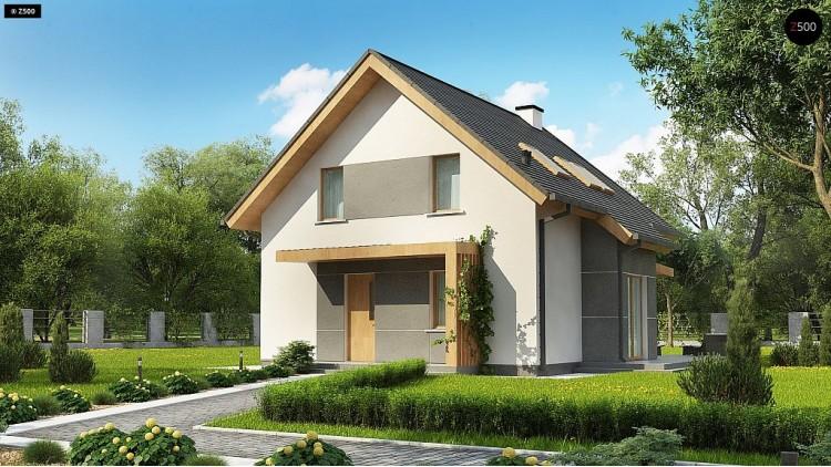 Проект Z44 A Вариант проекта z44 - аккуратный домик с двускатной кровлей и эркером.  Проекты домов и гаражей