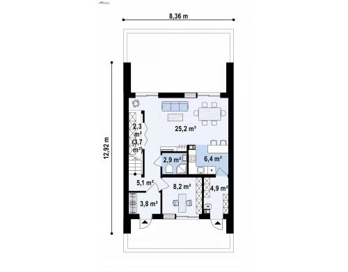 Проект Z442 Двухэтажный дом в современном стиле для узкого участка.  Проекты домов и гаражей