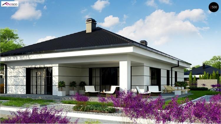 Проект Z443 Современный одноэтажный дом с тремя спальнями и гаражом на одну позицию.  Проекты домов и гаражей