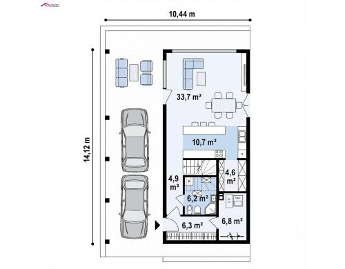 Проект Z445 D Мансардный дом простой формы с современным оригинальным экстерьером.  Проекты домов и гаражей