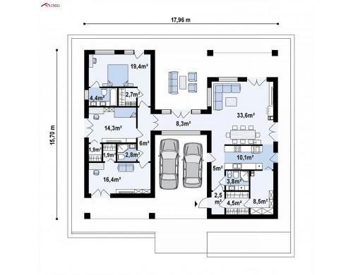 Проект Z449 Проект дома с одноуровневой оригинальной планировкой и современным экстерьером.  Проекты домов и гаражей