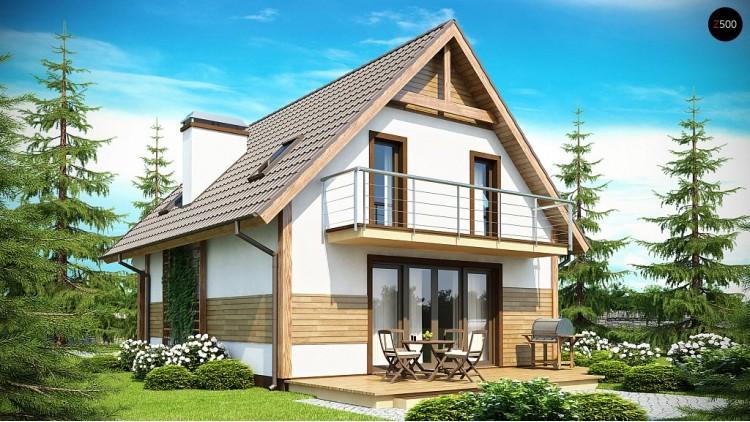 Проект двухэтажного дома, подходящего для удлиненного или, наоборот, неглубокого участка.