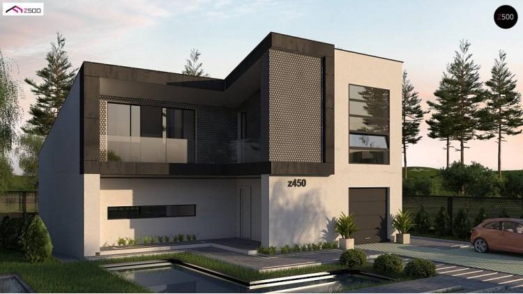 Проект Z450 Ппроект современного двухэтажного дома с оригинальным экстерьером и гаражом на один автомобиль.  Проекты домов и гаражей