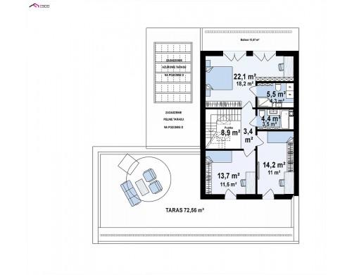 Проект Z453 Современный дом с большой террасой и балконом на первом этаже и просторной гостиной  Проекты домов и гаражей