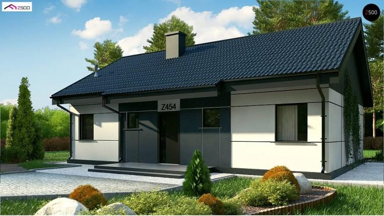 Проект Z454 Real Green Проект одноэтажного дома традиционной формы с современным экстерьером.  Проекты домов и гаражей