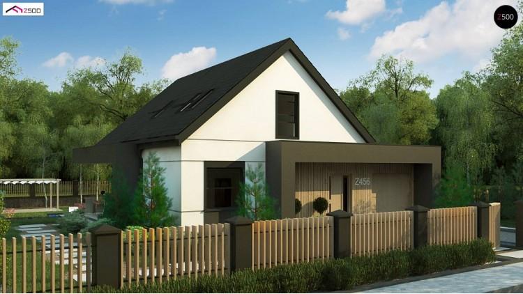 Проект Z456 Просторный мансардный дом со светлой гостиной и гостевой комнатой на первом этаже.  Проекты домов и гаражей