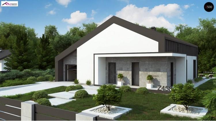 Проект Z458 Современный одноэтажный дом с двускатной крышей и большой террасой  Проекты домов и гаражей
