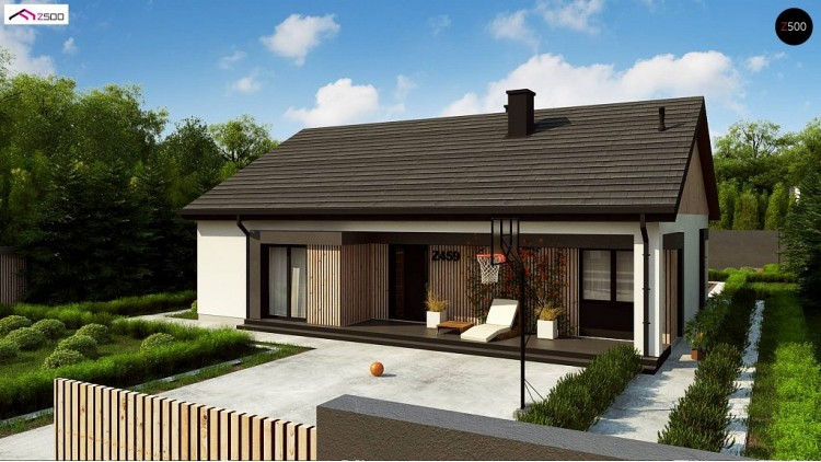 Проект Z459 Практичный одноуровневый дом без гаража с современным экстерьером.  Проекты домов и гаражей