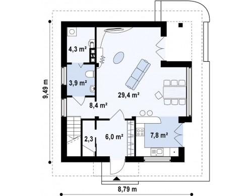 Проект двухэтажного дома с большой площадью остекления - Z47