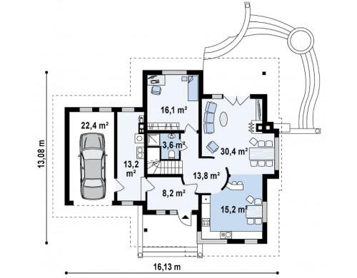 Проект просторного функционального дома сложной формы - Z48