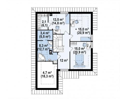Проект дома с мансардой, с большим техническим помещением и дополнительной спальней на первом этаже - Z49