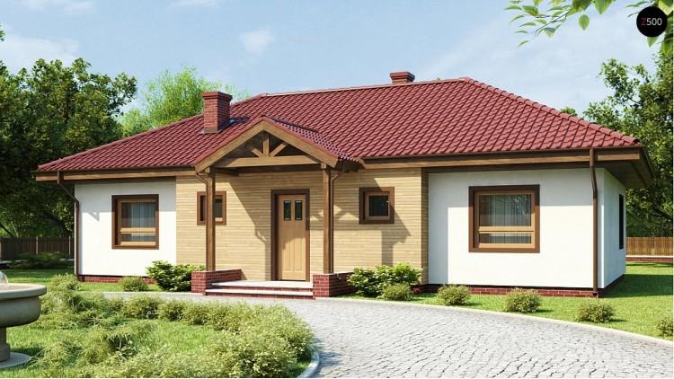 Проект симметричного одноэтажного дома с многоскатной кровлей - Z5