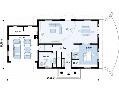 Проект добротного особняка изысканного дизайна с гаражом для двух авто - Z50