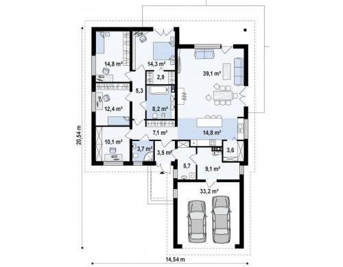 Проект одноэтажного дома с многоскатной кровлей, с фронтальным гаражом - Z52