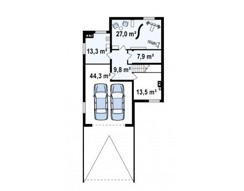 Проект двухэтажного дома с подвалом и дополнительной комнатой на первом этаже - Z53