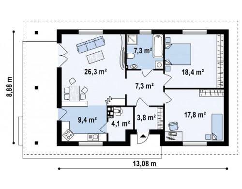 Проект компактного функционального дома с боковой террасой - Z55