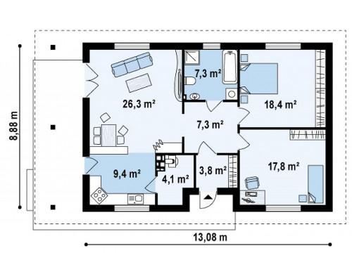 Каркасный одноэтажный дом, подходящий как для сезонного так и для постоянного проживания