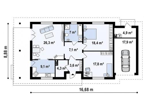 Проект Z55 GP Уютный одноэтажный дом с гаражом на одну машину  Проекты домов и гаражей
