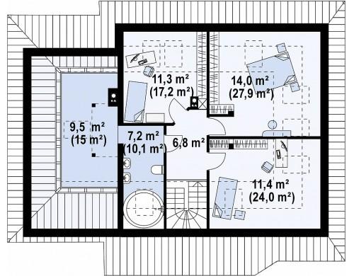 Проект дома с гаражом, большим хозяйственным помещением и угловой террасой - Z56