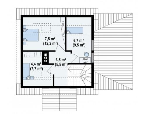 Проект небольшого дома с мансардой и с крытой боковой террасой - Z57