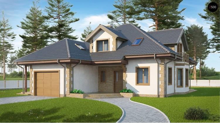 Проект Z58 z blk Просторный и уютный дом с мансардным этажом, подвариант проекта Z58.  Проекты домов и гаражей