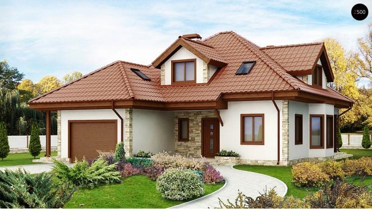 Проект двухэтажного дома с гаражом, эркером, красивыми мансардными окнами - Z58