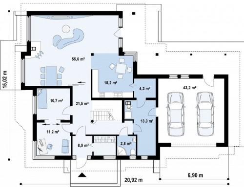 Проект просторного элегантного особняка с гаражом для двух автомобилей - Z59