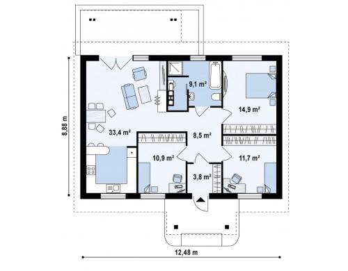 Проект аккуратного одноэтажного дома простой формы с двускатной крышей - Z61