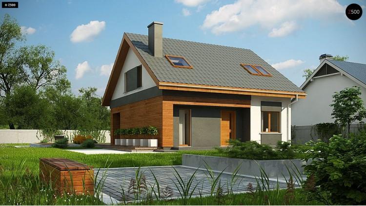 Проект Z62 A minus Традиционный дом с мансардой и терассой в современном стиле.  Проекты домов и гаражей