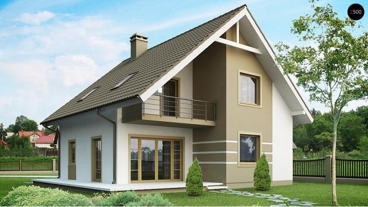 Проект стильного дома с мансардой, экономичный в строительстве и эксплуатации - Z62