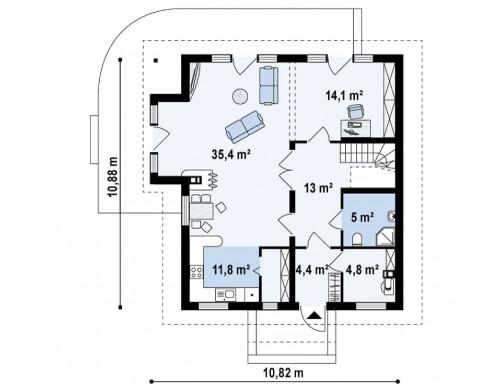 Проект экономичного дома с дополнительной спальней на первом этаже - Z63