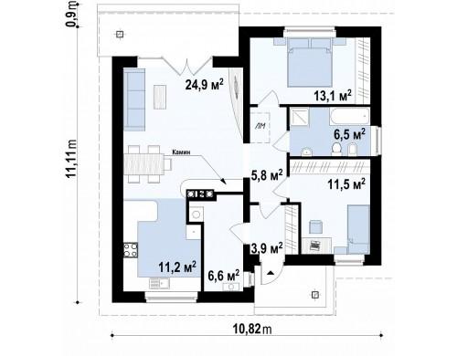 Проект одноэтажного практичного и уютного дома с крытой террасой - Z64