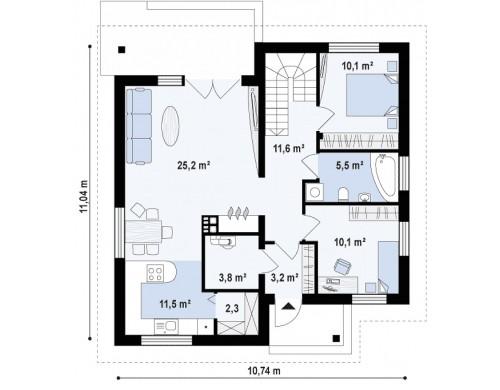 Проект Z64 a Версия проекта Z64 с жилой мансардой.  Проекты домов и гаражей