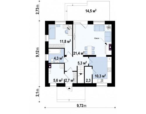 Проект Z65 v2 Современная версия проекта Z65 c изменениями в планировке.  Проекты домов и гаражей