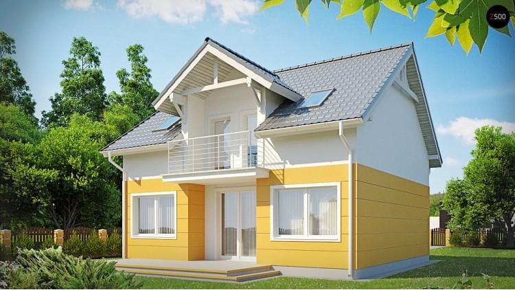 Проект стильного дома с мансардным окном и балконом, а также кухней со стороны сада - Z65