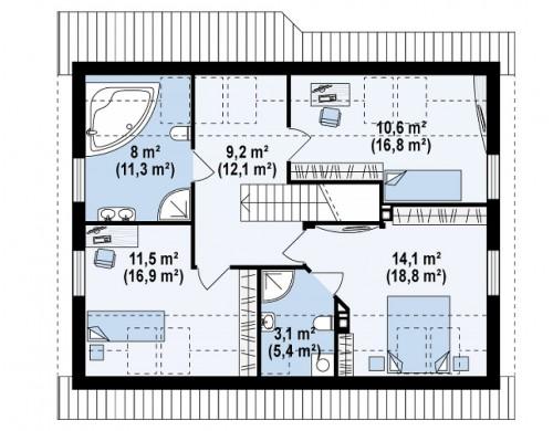 Проект комфортного и выгодного двухэтажного дома - Z66