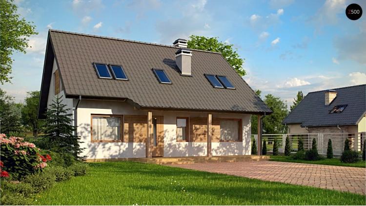 Проект Z66 D zp Дом с мансардой с двускатной крышей и комнатой на первом этаже  Проекты домов и гаражей
