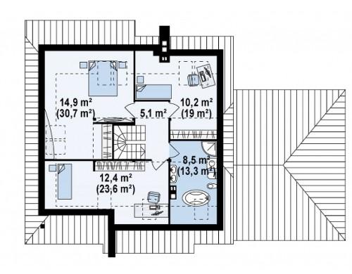 Проект комфортного дома с большим гаражом и дополнительной спальней на первом этаже - Z67