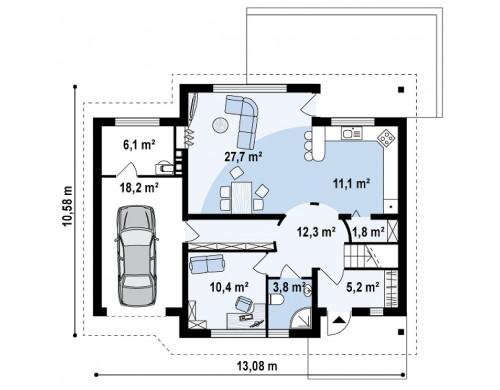 Проект функционального дома с современным мансардным окном, с дополнительной спальней на первом этаже - Z68