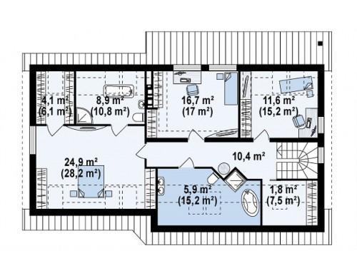 Проект Z68 GL2 Версия проекта Z68 с гаражом на два авто и дополнительными комнатами на мансарде.  Проекты домов и гаражей