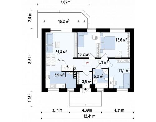 Проект компактного дома с двускатной крышей и фасадом из дереа — выгодный, функциональный и практичный - Z7