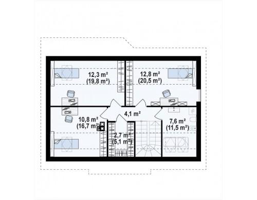 Проект Z7 P 35 Версия проекта Z7 с мансардным этажом, угол наклона кровли 35 градусов.  Проекты домов и гаражей