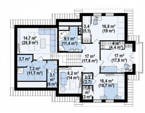 Проект комфортабельного дома с дополнительной гостиной на втором этаже - Z70